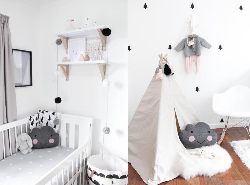 Poduszka chmurka w łóżeczku i tipi