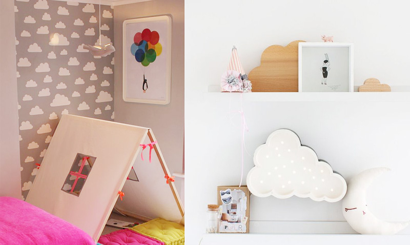 Chmurki na ścianach i chmurko-półki
