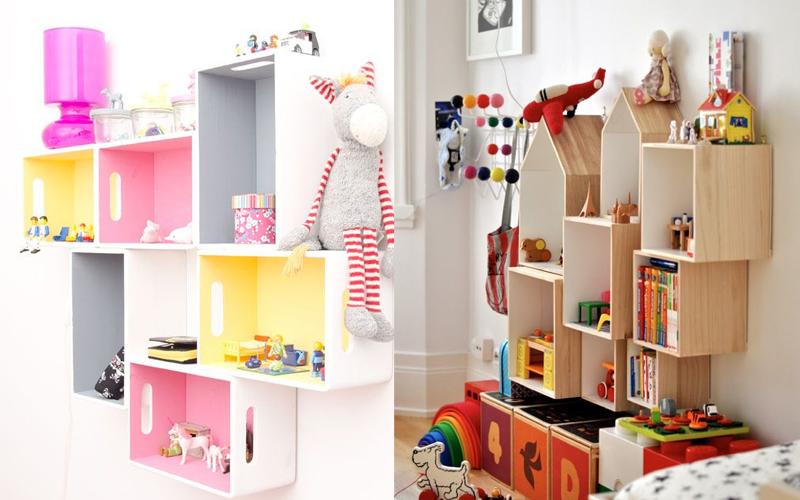 Półki na ścianie w pokoju dziecięcym