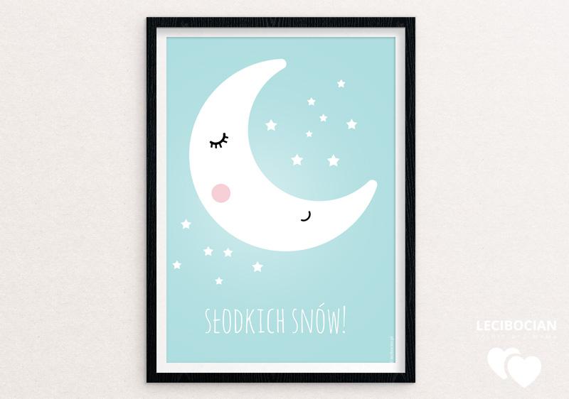 Plakat z księżycem w 5 pastelowych kolorach