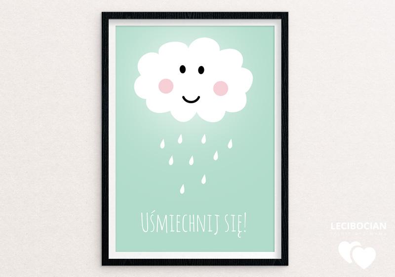Plakat z chmurką miętowy