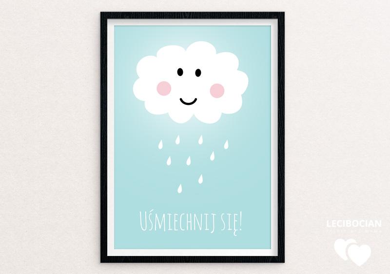 Plakat z chmurką niebieski