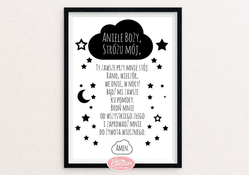 Czarno-biały plakat z modlitwą Aniele Boży