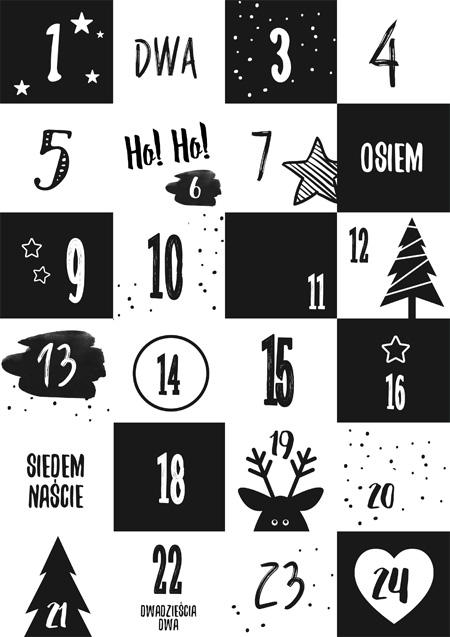 Kalendarz adwentowy - czarno-biały