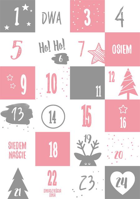Kalendarz adwentowy - różowy