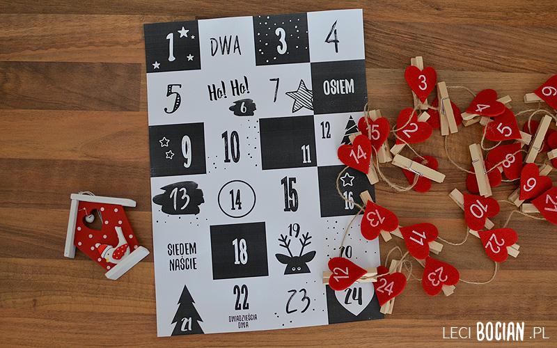Kalendarz adwentowy - do druku