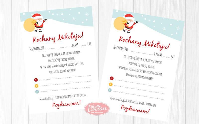 List do Świętego Mikołaja - do pobrania i wydruku