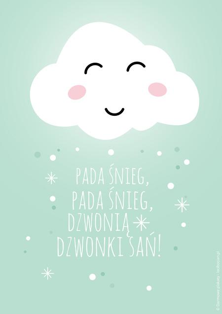 Plakat z zimową chmurką - miętowy