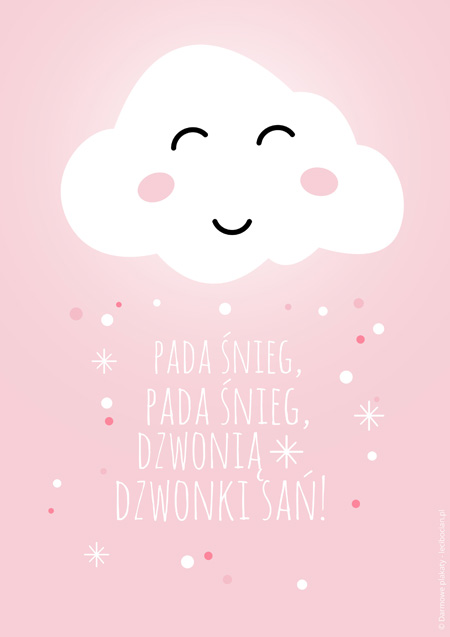 Plakat z zimową chmurką - różowy