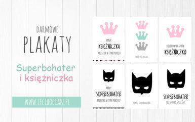 Plakat superbohaterowie i księżniczki do druku