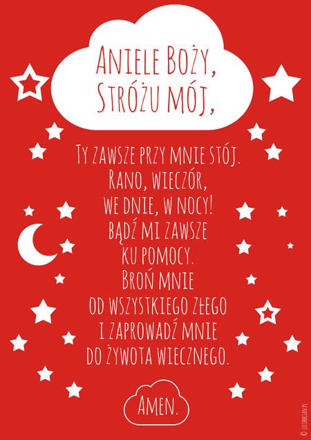 Plakat marynarski - Modlitwa Aniele Boży czerwona
