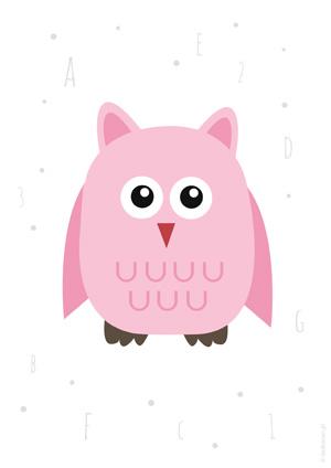Plakat z różową sową