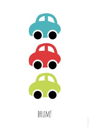 Plakat dla chłopca z autami