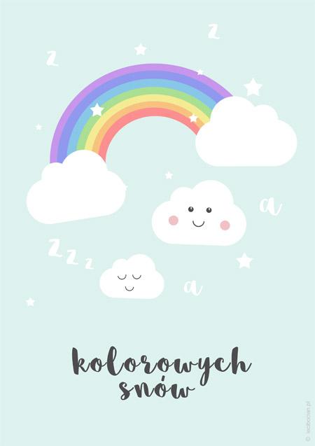 Plakat z tęczową chmurką