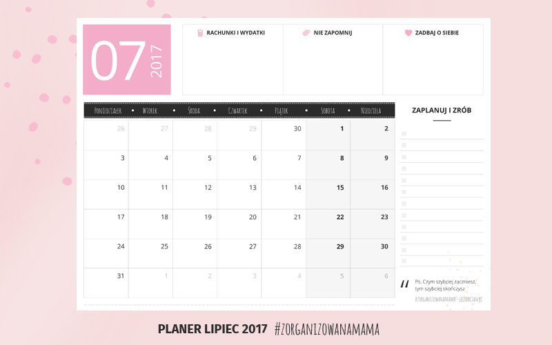 Planer do druku - lipiec 2017