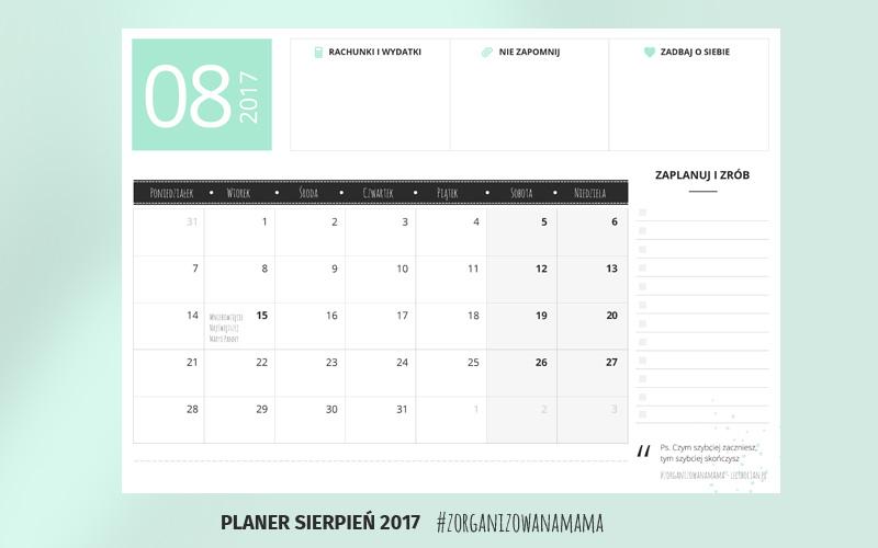 Planer do druku - sierpień 2018