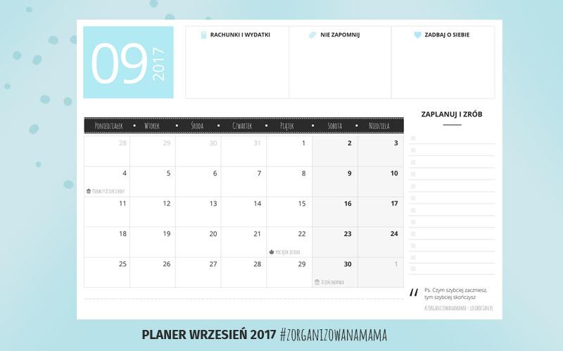 Planer do druku - wrzesień 2017