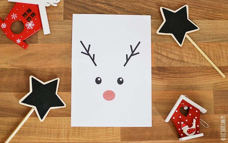 Plakat z Rudolfem z czerwonym nosem