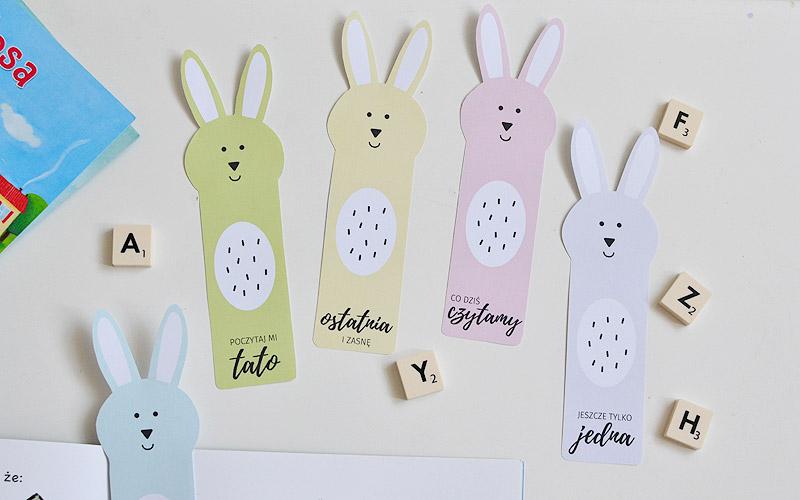 Zakładki do książek - kolorowe króliki