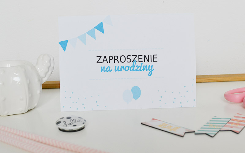 Zaproszenie na urodziny niebieskie