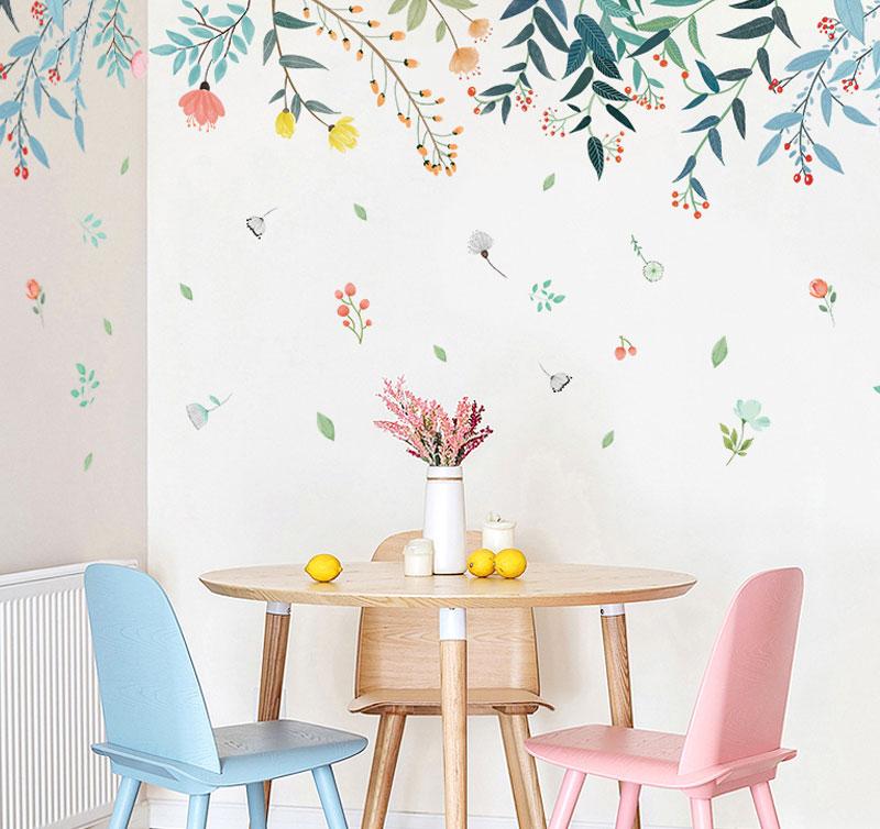 Naklejka na ścianę z Aliexpress z roślinami