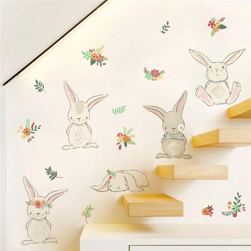 Naklejka na ścianę z Aliexpress z uroczymi królikami
