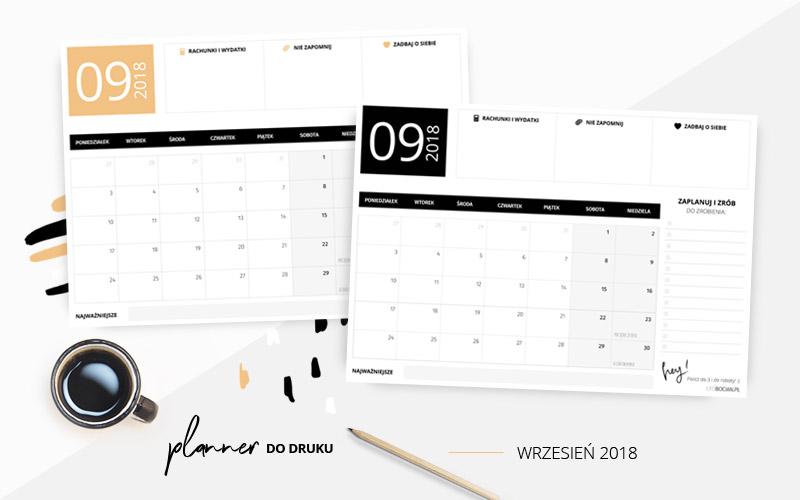 Planer na wrzesień 2018 do druku w dwóch kolorach