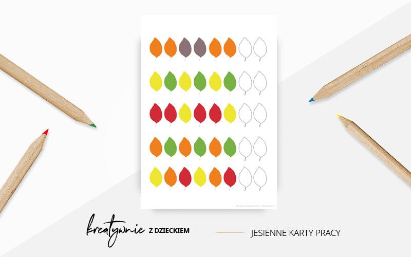 Jesienne karty pracy - kolorowe liście