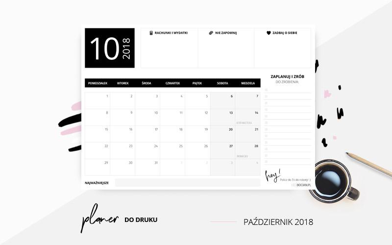 Darmowy planer na październik 2018 w kolorze czarnym