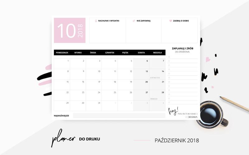 Darmowy planer na październik 2018 w kolorze różowym