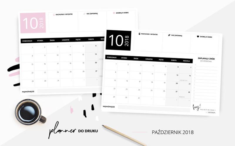 Planer na październik 2018 do druku w dwóch kolorach