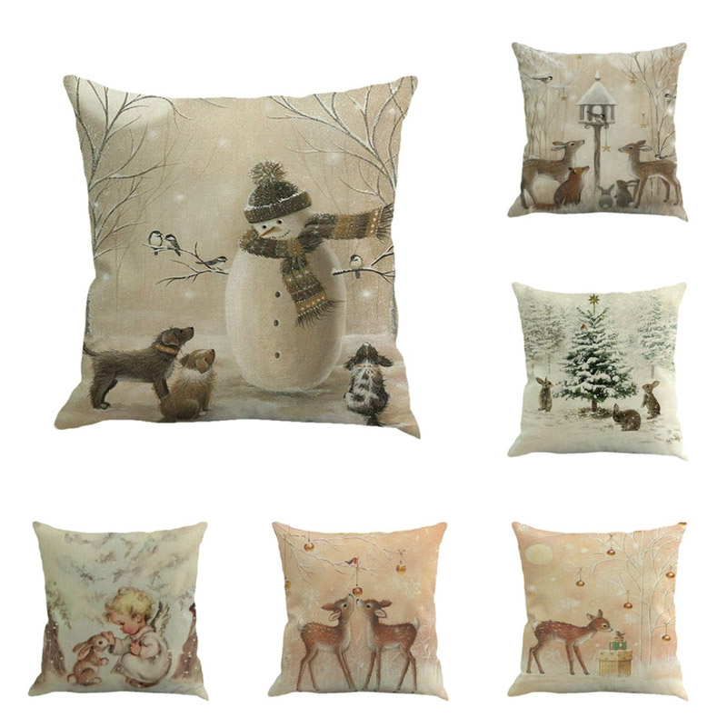 Poduszki w świątecznym leśnym klimacie