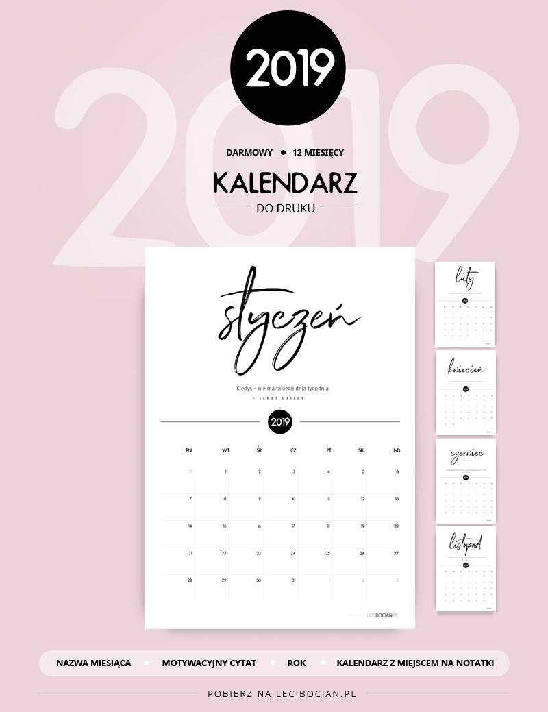 Kalendarz do druku 2019 - darmowy do pobrania