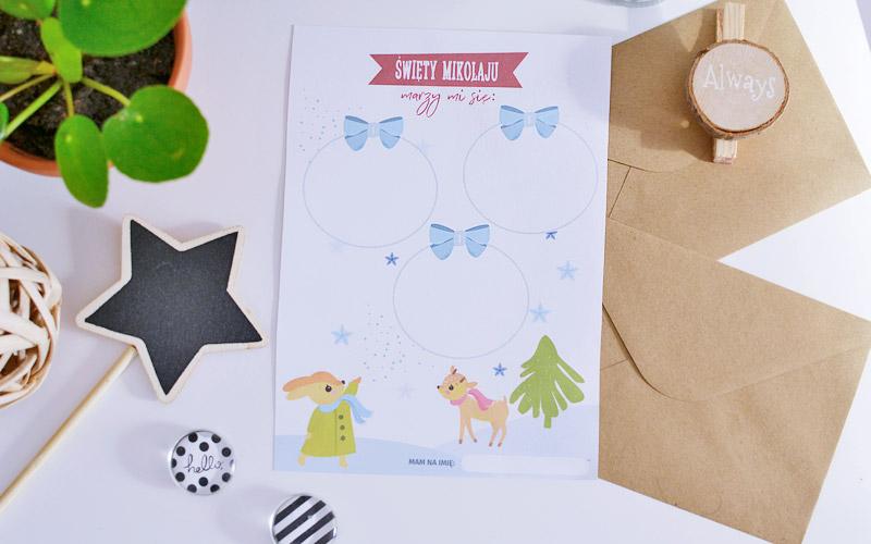List do Świętego Mikołaja do druku