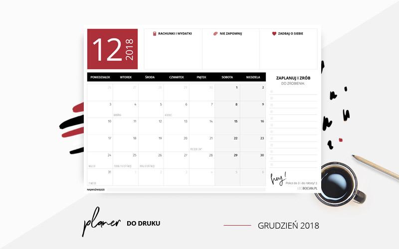 Darmowy planer do druku grudzień 2018 w kolorze czerwonym