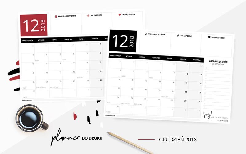 Darmowy planer do druku grudzień 2018 w dwóch kolorach