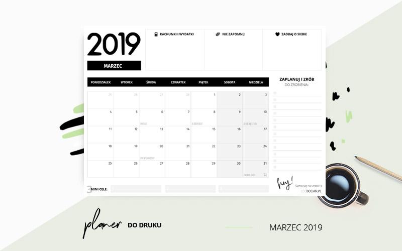 Planer marzec 2019 w kolorze czarnym