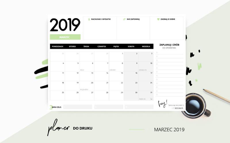 Planer marzec 2019 w kolorze zielonym