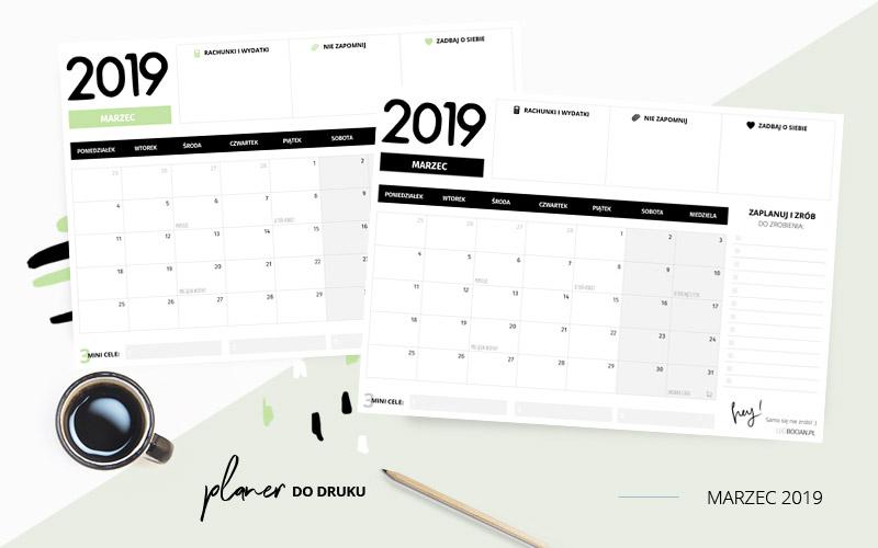 Planer marzec 2019 – do pobrania i wydrukowania w dwóch kolorach