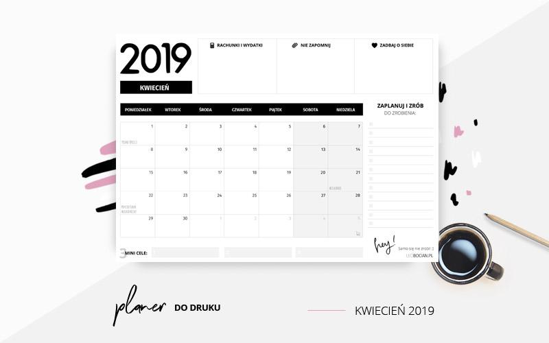 Planer kwiecień 2019 w kolorze czarno-białym