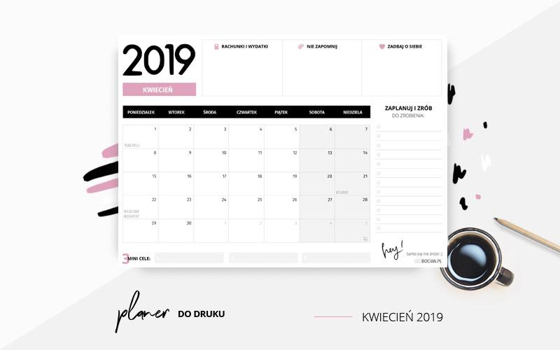 Planer kwiecień 2019 w kolorze różowym