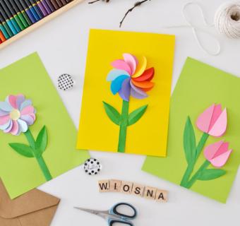 Wiosenne kwiatki wycinanki – szablon do druku