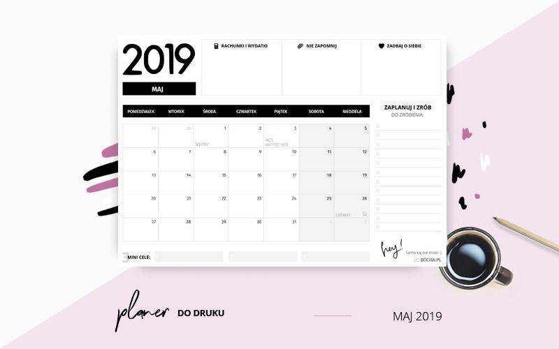 Planer maj 2019 w kolorze czarno-białym