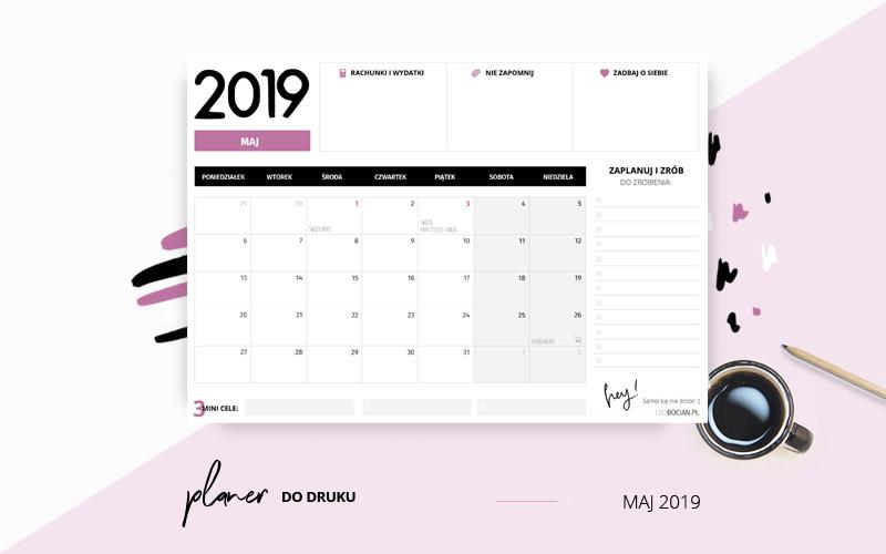 Planer maj 2019 w kolorze fioletowym
