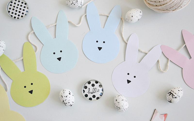 Wielkanocna girlanda z zajączkami do druku
