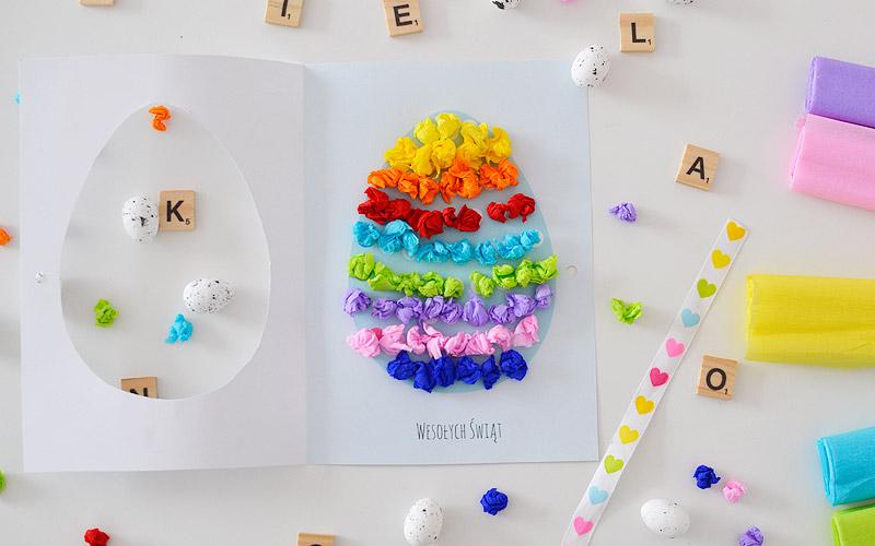 Kreatywnie z dzieckiem #17 - wielkanocna kartka wyklejanka
