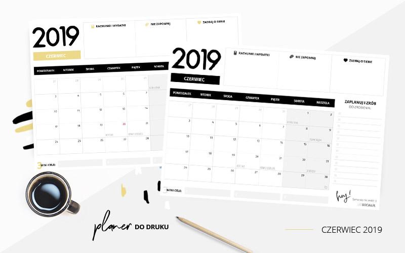 Planer czerwiec 2019 – do pobrania i wydrukowania w dwóch kolorach
