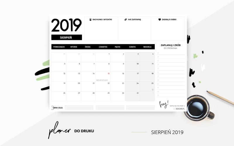Planer sierpień 2019 w kolorze czarno-białym