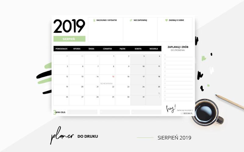 Planer sierpień 2019 w kolorze zielonym