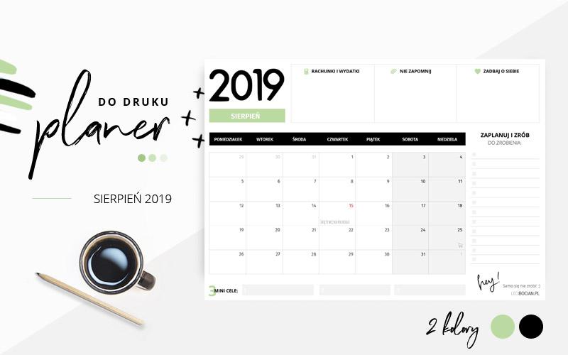 Planer sierpień 2019 – do pobrania i wydrukowania